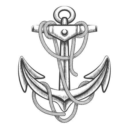 ANCLA: Dibujado a mano ancla con una cuerda. Estilo de grabado. Aislado en el fondo blanco.