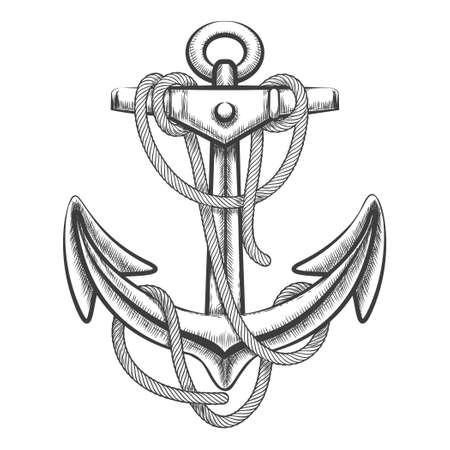Hand drawn anchor with rope. Engraving style. Isolated on white background.