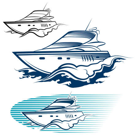 Yacht Emblem Set. Motor speedboat and wave. Isolated on white background.