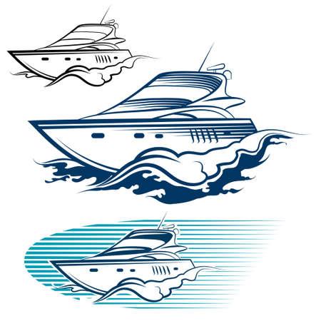 speedboat: Yacht Emblem Set. Motor speedboat and wave. Isolated on white background.