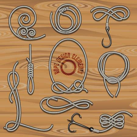 ロープ デザイン要素のコレクションです。ビンテージ スタイルで描画されます。ノット、ループとフック。フリーのフォントが使用されます。