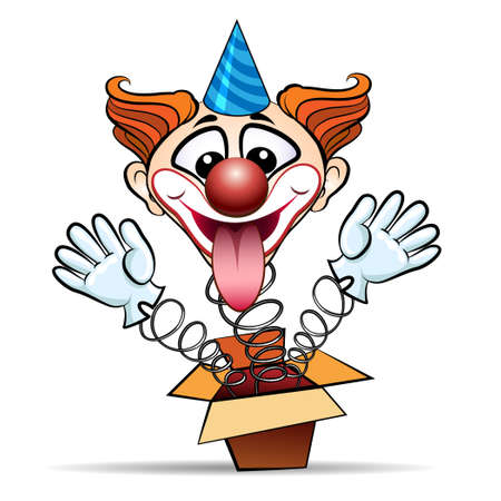 Funny illustration of laugthing clown jumps out of surprised box. Isolated on white background.