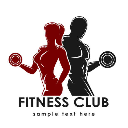 ginástica: Logotipo do clube de fitness ou emblema com mulher e homem silhuetas. Mulher e homem prende halteres. Isolado no fundo branco. Font livre Raleway usado. Ilustração
