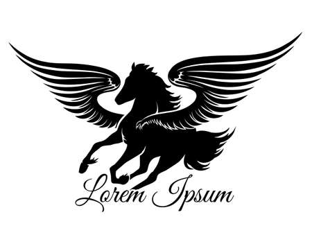 pegasus: Winged stallion logo or emblem. Isolated on white background. Free font Great Vibes used.