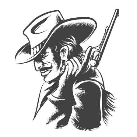 vaquero: Hombre en ropa de vaquero con el revólver en la mano. Estilo de grabado. Blanco y negro sobre fondo blanco.