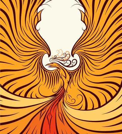 upraised: The Phoenix with upraised wings. Poster style. No gardients. Illustration