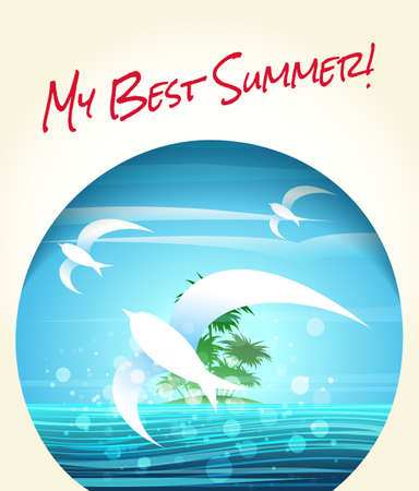 salt free: Summer or vacation theme poster. Tropical seascape with flying seagulls and lettering My Best Summer. Free font Rock Salt used.