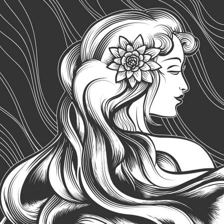The beautiful woman with a flower in hair. Engraving style. Monochrome illustration.
