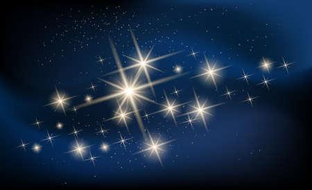 milky way galaxy: Shining stars and galaxy illustration. Constellation against nebula.
