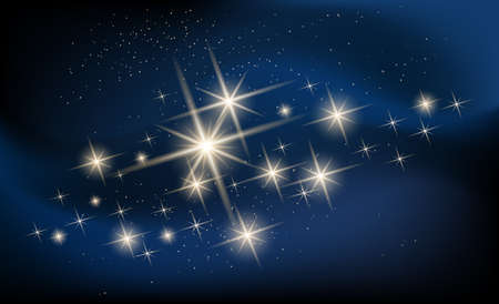 Shining stars and galaxy illustration. Constellation against nebula.