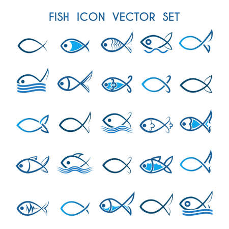 Fish icon or symbol set. Monochrome and colorful fish icons. Isolated on white background.