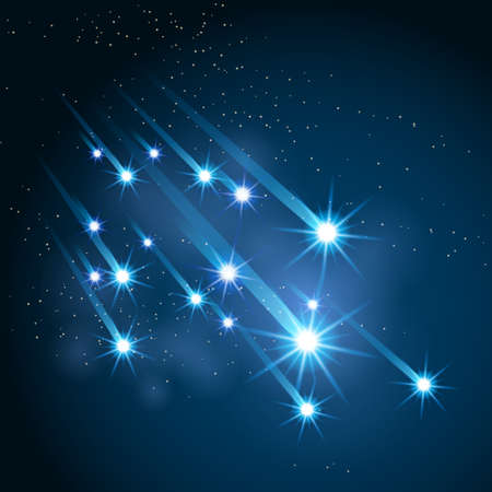 meteor shower: The Falling Meteors Rain. Glowing meteors against starry galaxy.