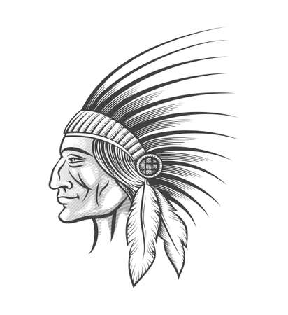 indian tribe: American indian tribe leader. Head of clan in traditional feathered war bonnet . Engraving style. Monochrome isolated on white.