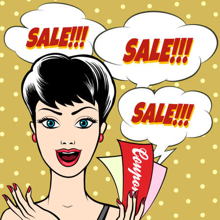 Joyful Woman with SALE signs and coupons in her hand. Illustration in pop art style. Only free font used. Vettoriali