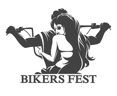 motorbike race: Emblem or label of Bikers Festival. Young Man and woman ride a motorcycle. Only free font used. Isolated on white background.