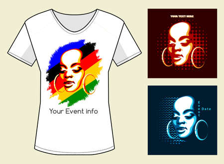 nouse: T-Shirt Print in three color variations. African Woman Face with samples of text. Only free font used.