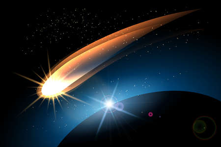 Glowing comet in space and planet surface. Colorful illustration. Иллюстрация