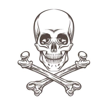 Engraving illustration of skull and crossbones. Isolated on white background. Illustration