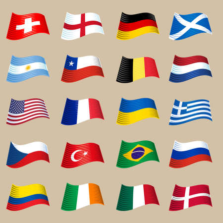 republic of ecuador: Different countries flags set. Fluttering flags isolated on light background.