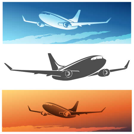 undercarriage: Flying Airplane set. Isolated silhouette and airplanes against morning or sunset sky.