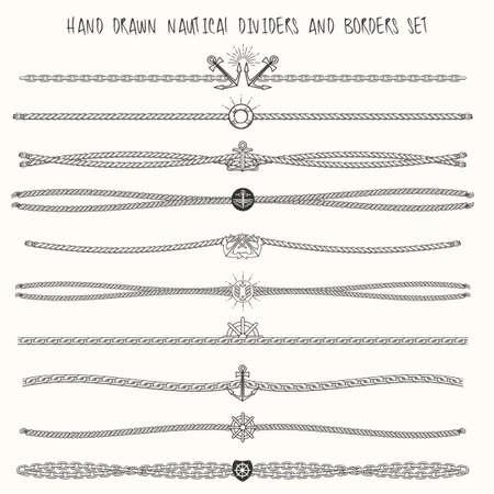 Conjunto de cuerdas náuticas y elementos de las cadenas de decoración. Dibujado a mano divisores y fronteras. Sólo Fuente libre uso.