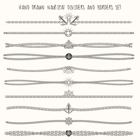 Set of nautical ropes and chains decor elements. Hand drawn dividers and borders. Only free font used. Vectores