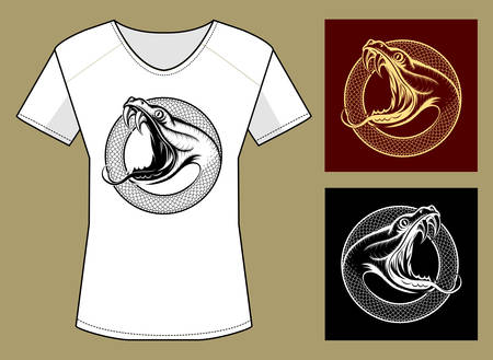 open shirt: T-Shirt Print in three color variations. Snake Head with open mouth against circle of snake skin.