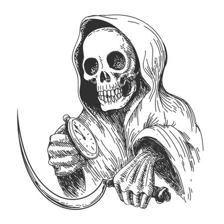 Death with sickle and pocket watch. Ink drawing style. Isolated on white.