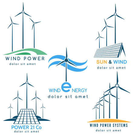 panels: Power making company ologo or emblem set. Solar and wind energy generators and turbines. Free font used. Isolated on white background.