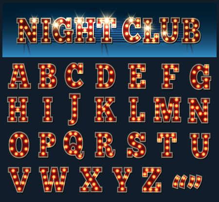 レトロなスタイルの電球のアルファベット。大文字は暗闇に分離されました。  イラスト・ベクター素材