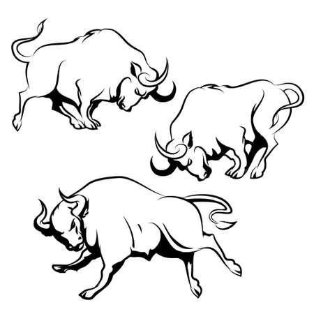 ブル記号またはエンブレム セット。さまざまなポーズで怒っている雄牛を実行します。白い背景上に分離。