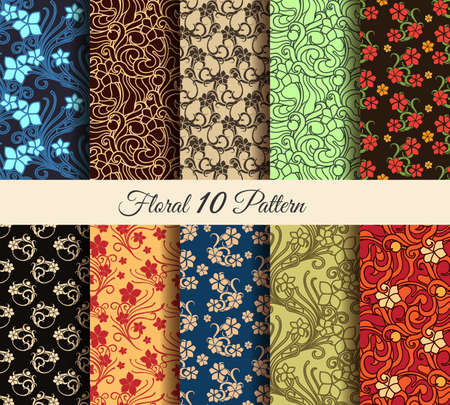 effortless: Floral vector seamless patterns set. 10 colorful flower effortless wall papers. No gradients used. Illustration