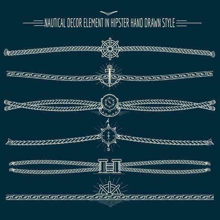 elementos: Conjunto de cuerdas y cadenas de elementos de decoración náutica en el estilo inconformista. Dibujado a mano divisores y fronteras. Sólo Fuente libre uso.