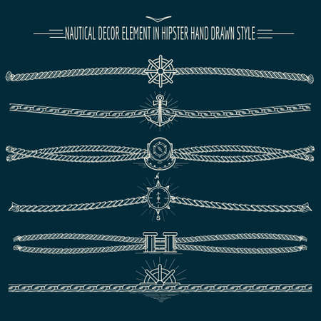 abstract design elements: Set of nautical ropes and chains decor elements in hipster style. Hand drawn dividers and borders. Only free font used. Illustration