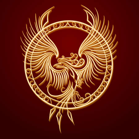 Phoenix Bird with rising wings in a circle. Ancient symbol of revival.