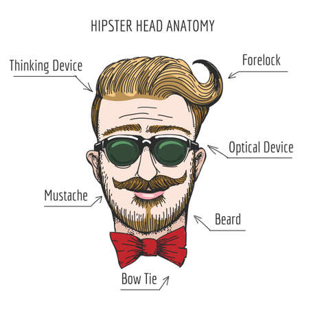 Humorous illustration of Hipster head structure. Free font used. Isolated on white background.
