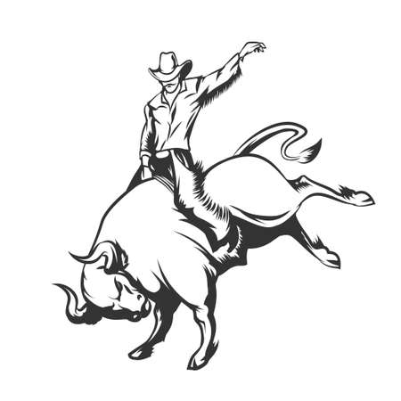 Rodeo cowboy riding a wild bull. Monochrome isolated on white.