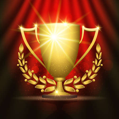 Shining golden trophy cup with laurel wreath against festive red background.