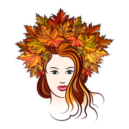nude outdoors: Beautiful girl in a wreath of red and yellow autumn maple leaves. Isolated on white. Illustration