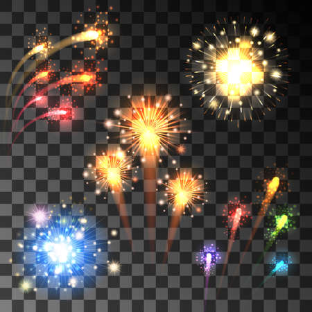 Festive colorful firework bursting in various shapes sparkling on transparent background.