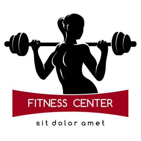 barbell: Fitness center or Gym emblem. Elegant woman silhouette with barbell. Fitness exercises concept. Free font used. Isolated on white. Illustration
