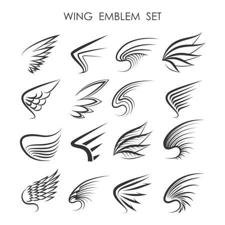 adler silhouette: Flügel-Logo oder Emblem Set. Sechzehn Flügel-Symbole in verschiedenen Grafikstile. Isoliert auf weiß.