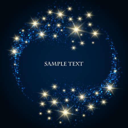 거품과 진한 파란색 배경 및 텍스트 샘플에 빛나는 별과 추상적 인 배경입니다.