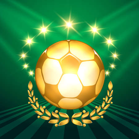 shining: A golden soccer ball with laurel wreath against shining stars and green background. Symbol of victory in soccer competitions.