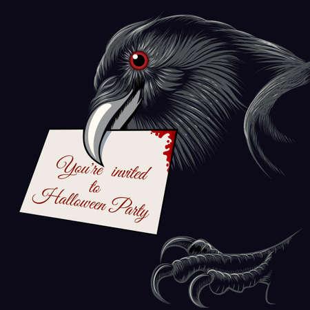 corvo imperiale: Il corvo con biglietto d'invito per Halloween Party in un becco. Font gratuito utilizzato.