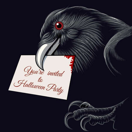 black raven: The raven with invitation card to Halloween Party in a beak. Free font used.