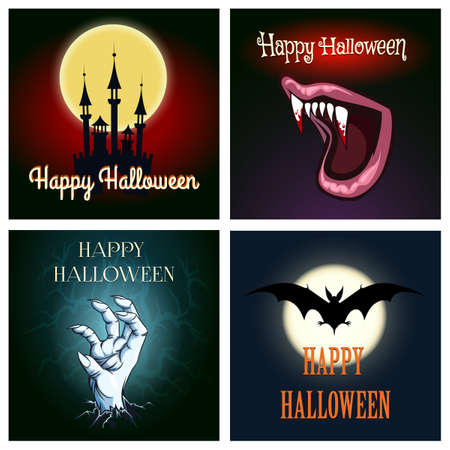 deadman: Happy halloween card set.  Flying bat, deadman hand, vampire teeth and Dracula castle with Halloween wording. Free font used.