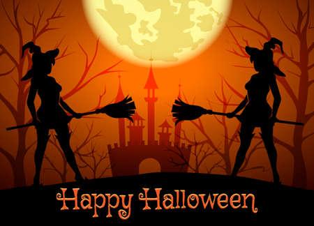 wiedźma: Halloween tle z sylwetką czarownic i napisem Happy Halloween.