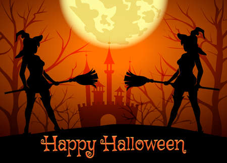 Halloween background with silhouettes of witches and lettering Happy Halloween.