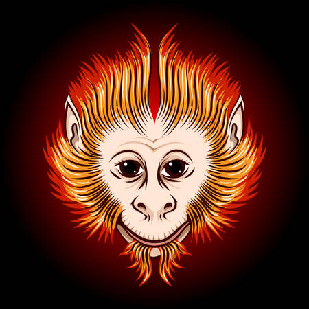 next year: Cute Fire monkey face. Eastern Symbol of next year.